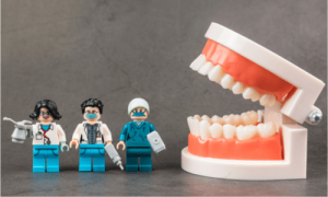 Lego representation for an emergency tooth extraction.
